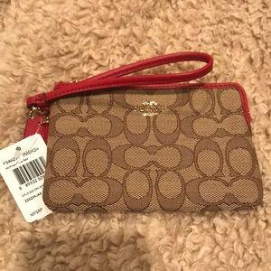 Coach zip wristlet wallet